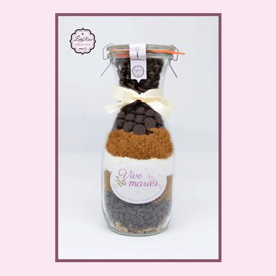 Vive les mariés - Préparation brownies aux pépites de chocolat et noix bio par Leely Rose Créations